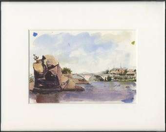 5x7 original watercolor of Potomac river