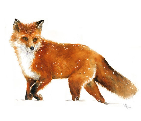 Fox Watercolor Giclee Print Woodland Red Fox Painting Fox