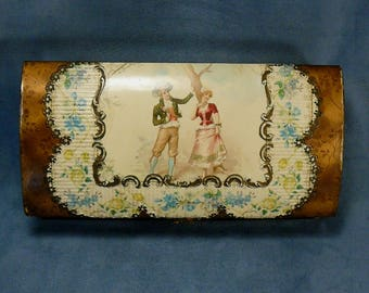 Celluloid Courting Couple Dresser Box Manicure Grooming Makeup
