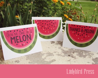 Printable Summer greeting cards - Watermelon - Family reunion - Thank You Cards - Summer Party - Instant Download