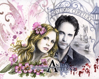 """Different Worlds - True Blood Traditional Art Watercolor Painting - Photo Print 15x20cm (5.9""""x7.8"""") - Hand Signed"""