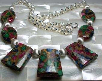 Gemstone Necklace, Mosaic Necklace, Ruby, Emerald, Blue Lapis Gemstone Necklace, Silver Jewelry, Jewellery