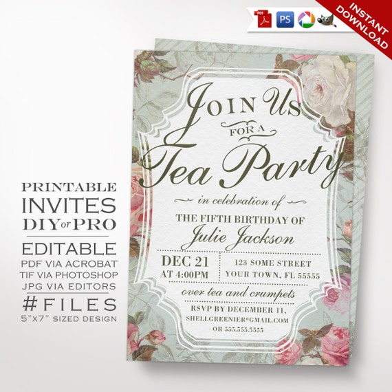 Birthday Tea Party Invitation Template Vintage Rose Tea