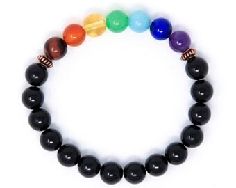 Chakra Mala Bracelet, Mens Womens Yoga Bracelet, 7 Chakra Beads, Black Tourmaline Wrist Mala Prayer Beads, Yoga Jewelry