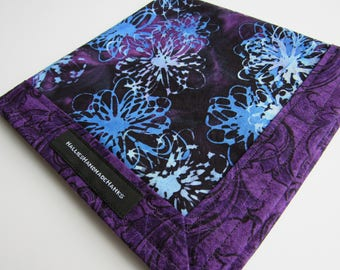 EDC Hank Purple Blue Black Batik Handmade Hank Everyday Carry Pocket Dump Hank EDC Handkerchief Gift for Him Gift for Her