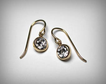 CZ Earrings, 14K Yellow Gold Filled, CZ dangle Earrings, Imitation Diamond Earrings, Bezel Set Cubic Zirconia, Bridesmaid Gift Drop Earrings