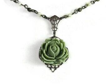 Vert collier Floral de Style Vintage, cristal de Swarovski, collier en laiton Vintaj, collier fleur Bohème romantique, idées cadeaux pour elle