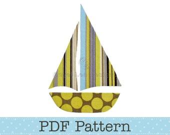 Sail Boat Applique Template, Yacht, DIY, Children, PDF Pattern by Angel Lea Designs