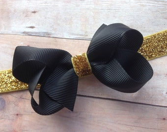 Baby headband - black and gold baby headband, baby headbands, baby headband bows, baby girl headbands, newborn headbands, baby bows, bows