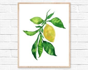 lemon watercolor lemon print lemon painting lemon lemon art kitchen decor watercolor painting lemons watercolor kitchen art kitchen wall art