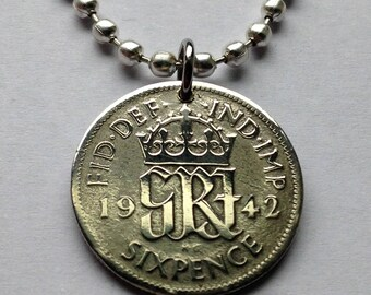 1942 UK Great Britain 6 pence pendant initial G R British Crowned monogram crown George VI England lucky charm necklace jewelry n000615