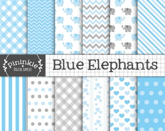 Blue Elephant Digital Paper, Boy Baby Shower Scrapbook Paper, New Baby Boy Elephant Backgrounds, Blue and Gray Digital Paper, Commercial Use