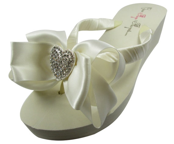 Wedding flops for white flip or bridal any flip the in bow flops bling and ivory bride bridesmaids heart CC14rw5qx