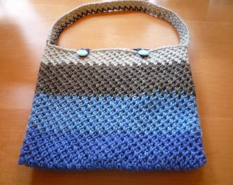 Blue and Grey Crochet Bag, purse