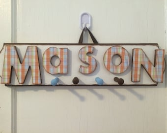Boys Custom Hand Painted Car Name Sign with Pegs - Boys  Name Sign Coat Rack - Boys Vintage Car Style Name sign