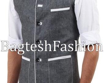 Handmade Mens Traditional Nehru Collar Jacket Sleeveless Linen Waistcoat