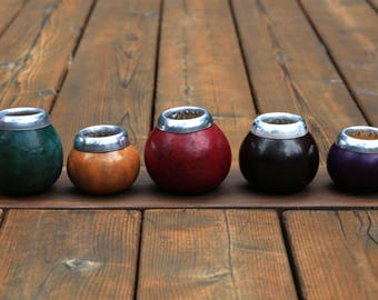 Uncured Gourd Yerba Mate Tea Cup | Traditional Mate From Argentina | Specialty Mug | Dried Gourd | Metal Rimmed | Argentinian Tea