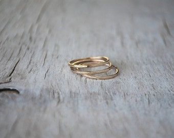3 Gold Stacking Ring Set - 14k Gold-Filled Stack Rings - Handcrafted Rings - Skinny Gold Ring Stack Set