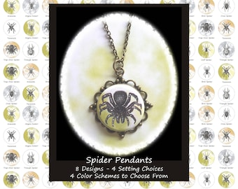 Spider Pendants - 8 Designs, 4 Setting Choices, and 4 Color Schemes to Choose From