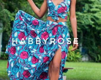 Moni crop top and maxi skirt set,  African top, African skirt, Maxi skirt, African fabric, African clothing, Ankara print
