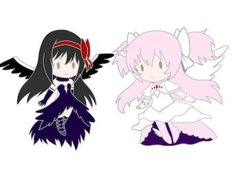 Goddess Madoka and Devil Homura enamel pin *preorder*