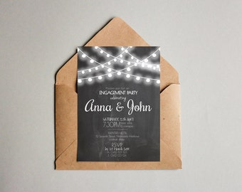 Chalk Board Black & White Fairy lights Engagement Party Cocktail Invitation