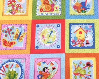 Bugs Labels Squares 777 Makower 'Discounted' 'Reduced' Patchwork Quilting Fabric
