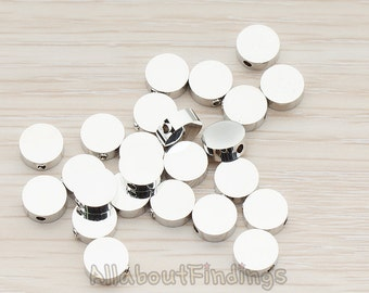 BDS943-02-R // Glossy Original Rhodium Plated Sharpin Round Metal Bead, 6 Pc