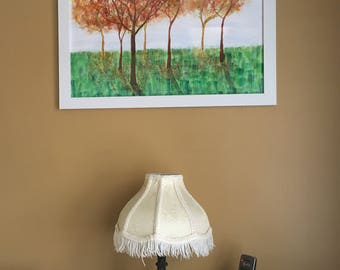 """Autumn Trees : 18"""" x 24"""" framed watercolor and ink on paper"""