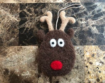 Needle Felted Reindeer Ornament, Needle Felted Reindeer Decoration, Needle Felted Reindeer