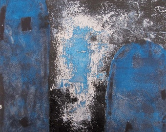 Original Abstract Painting - Blue 12 x 12 inch minimal modernist blue