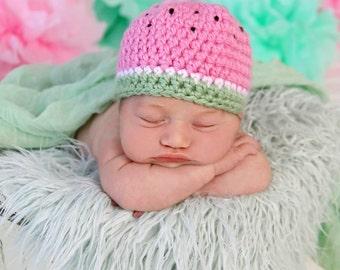 Newborn Watermelon Crochet Hat Photo Prop