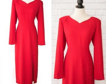 Vintage 1980s Casual Corner Red Polyester Long Sleeves Slit Dress Large