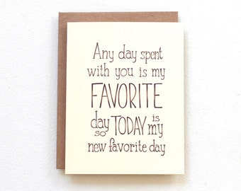 Today is my new favorite day - Winnie the Pooh quote card, handmade card, friendship card best friend card, romantic anniversary card