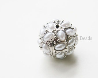 2pcs White Gold Tone Base Metal with Pearl Balls - Spacer 22x19mm (188C)