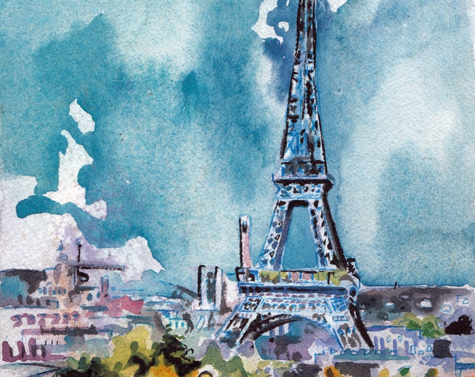 Featured listing image: Paris Art Print - Eiffel Tower Painting - Original Watercolor of Paris by Jen Tracy - French Landscape Eiffel Tower Art - Gift for Traveler