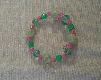 Funky Green and Pink Beaded Wraparound Bracelet