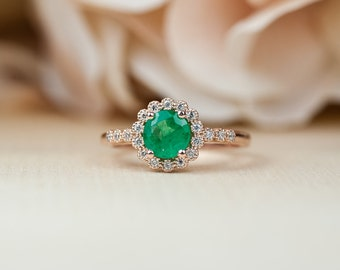Emerald Engagement Ring, Rose Gold, Halo Engagement Ring, Rose Gold Engagement Ring, Milgrain Engagement ring