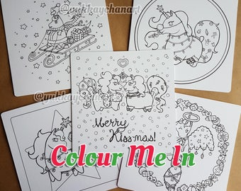 5x Christmas Unicorn Colouring Card Set Fabulous DIY