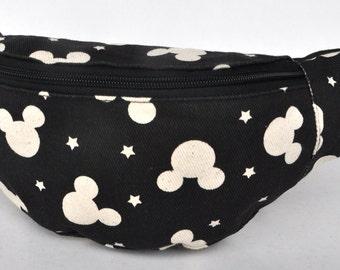 Fanny Pack Micky Mouse  black hip bag, 1 zipper bum bag,waist bag,belt bag,hip pouch,bags & purses festival bag, concert bag ,camping bag