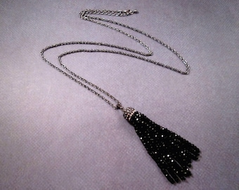 Tassel Necklace, Long Black Glass Beaded Tassel and Pave Rhinestone Cap, Gunmetal Silver Chain Necklace, FREE Shipping U.S.