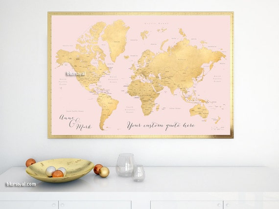 Custom quote printable gold world map with country names us like this item gumiabroncs Gallery