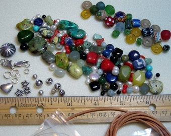 SALE -Mixed Lots-DESTASH-Semi-Precious Stones, Freshwater Pearls, African Trade beads, Sterling, Greek Leather - beads, clasps - ML103