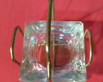 ASH TRAYS Clear Glass Square (Set of 3 w/Stand) VINTAGE 1960's/70's
