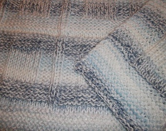 Baby to Toddler Knitted Afghan Blanket - Blue and White Stripes