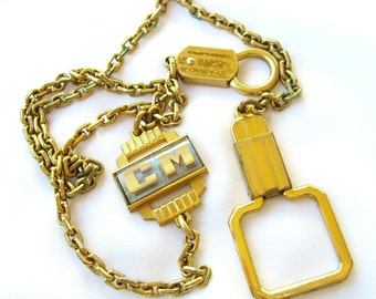Vintage Watch Fob and Chain, HICKOK USA, Monogrammed Accessory, Valentine's Day Gifts for Men