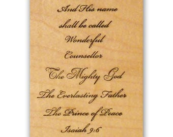Isaiah 9:6 mounted rubber stamp, Christian bible verse, religious Christmas, Crazy Mountain Stamps #7