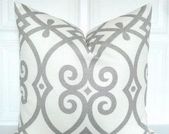 Grey Pillow Cover - Trellis - Decorative Pillow Cover - Grey and Off White -  Throw Pillow - Accent Pillow - Toss Pillow - 18x18