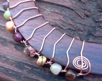 Wire Wrapped Wooden Bangle Bracelet