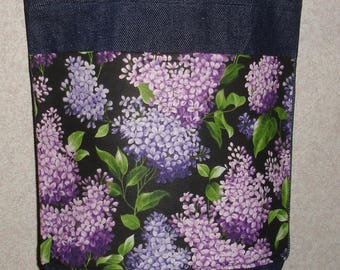 New Small Handmade Lilac Floral Black Background Denim Tote Bag